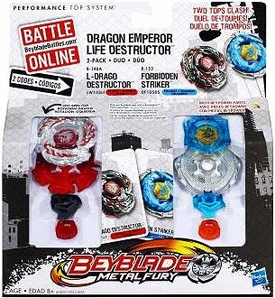 Beyblades Metal Fusion 2-Pack Dragon Emperor Life Destructor [L-Drago Destructor & Forbidden Striker]
