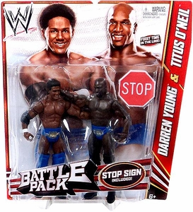Mattel WWE Wrestling Basic Series 21 Action Figure 2-Pack Darren Young & Titus O'Neil {Primetime Players!} [Stop Sign!]