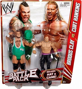 Mattel WWE Wrestling Basic Series 20 Action Figure 2-Pack Brodus Clay & Curt Hawkins [Hat & Cane!]