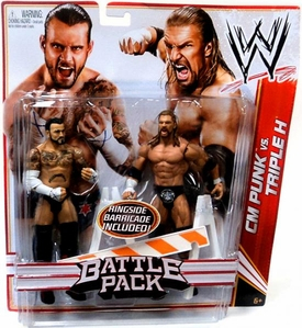 Mattel WWE Wrestling Basic Series 18 Action Figure 2-Pack CM Punk & Triple H [Ringside Barricade!] BLOWOUT SALE!