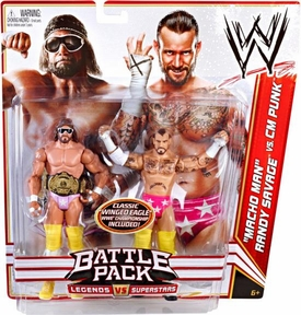 Mattel WWE Wrestling Basic Series 14 Action Figure 2-Pack Macho Man Randy Savage & CM Punk  [Classic Winged Eagle Championship Belt!]