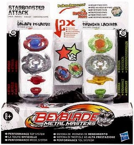 Beyblades Metal Masters Attack & Stamina 2-Pack Starbooster Attack [#BB70B Galaxy Pegasus vs. #B123 Thunder Lacerta]