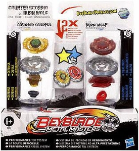 Beyblades Metal Masters Defense & Balance 2-Pack #B118 Counter Scorpio vs. #B125 Burn Wolf