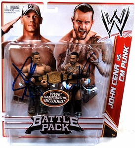 Mattel WWE Wrestling Basic Series 17 Action Figure 2-Pack John Cena & CM Punk Autographed by Both Guys!