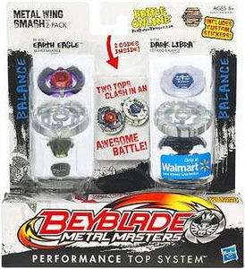 Beyblades Metal Masters Exclusive Balance & Balance Battle Top 2-Pack Metal Wing Smash [#BB47A Earth Eagle & #B106 Dark Libra]