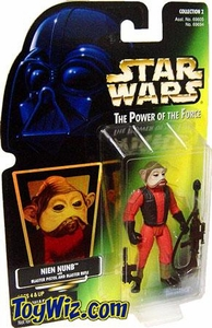 Star Wars POTF2 Power of the Force Hologram Card Nien Nunb w/ Blaster Pistol and Blaster Rifle