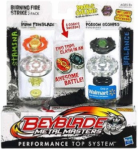 Beyblades Metal Masters Exclusive Stamina & Balance Battle Top 2-Pack Burning Fire Strike [#BB59A Burn Fireblaze & #B110 Poison Scorpio]