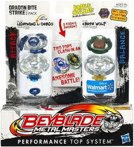 Beyblades Metal Masters Exclusive Attack & Balance Battle Top 2-Pack Dragon Bite Strike [#BB43C Lightning L-Drago & #B108 Earth Wolf]