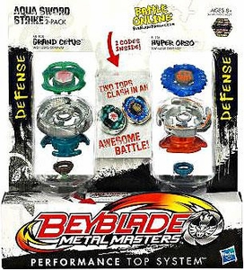 Beyblades Metal Masters Defense & Defense Battle Top 2-Pack Aqua Sword Strike [#BB82B Grand Cetus vs. #B116 Hyper Orso]