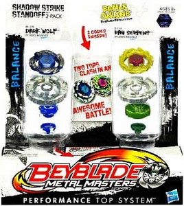 Beyblades Metal Masters Balance & Balance Battle Top 2-Pack Shadow Strike Standoff [#BB29B Dark Wolf vs. #B113 Ray Serpent]