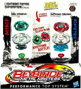 Beyblades Metal Masters Attack & Balance Battle Top 2-Pack Lightning Sword Showdown [#BB71A Ray Striker vs. #B114 Inferno Gasher]
