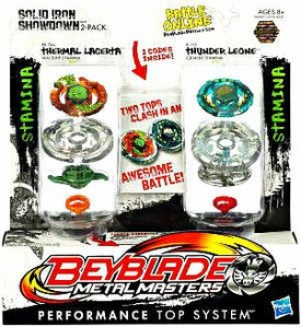 Beyblades Metal Masters Stamina & Stamina Battle Top 2-Pack Solid Iron Showdown [#BB74A Thermal Lacerta vs. #B115 Thunder Leone]