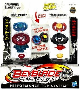 Beyblades Metal Masters Defense & Attack Battle Top 2-Pack Crushing Blast [#BB78A Rock Zurafa vs. #B115 Torch Gemios]