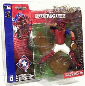 McFarlane Toys MLB Sports Picks Series 1 Action Figure Ivan Rodriguez (Texas Rangers) Blue Jersey Variant Damaged Package, Mint Contents!
