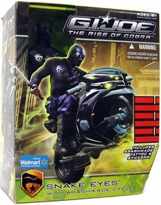 GI Joe Movie The Rise of Cobra Exclusive 12 Inch Deluxe Action Figure Snake Eyes with Arashikage Cycle