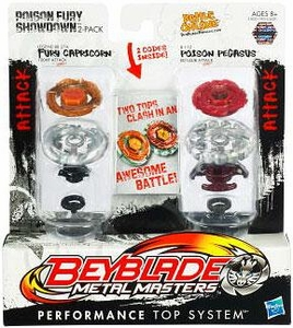 Beyblades Metal Masters Attack & Attack Battle Top 2-Pack Poison Fury Showdown [#BB27A Fury Capricorn vs. #B112 Poison Pegasus]