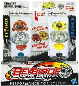 Beyblades Metal Masters Defense & Balance 2-Pack Gravity Demolition Force [#BB80A Gravity Destroyer vs. #B121 Inferno Byxis]