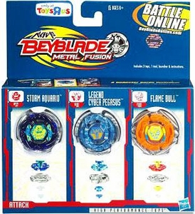 Beyblades Metal Fusion Exclusive Battle Top 3-Pack Storm Aquario, Legend Cyber Pegasus & Flame Bull
