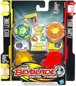 Beyblades Metal Fusion Defense & Attack Battle Top 2-Pack Lion Gale Force Wall [#BB30A Rock Leone & #B101 Flame Bull]