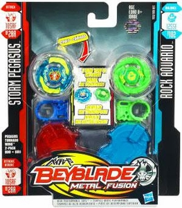 Beyblades Metal Fusion Attack & Balance Battle Top 2-Pack Pegasus Tornado Wing Attack [#BB28A Storm Pegasus & #B102 Rock Aquario]
