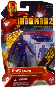 Iron Man 2 Concept 4 Inch Action Figure #15 Fusion Armor {Stealth} Iron Man [Snap On Missile Launcher!]