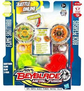 Beyblades Metal Fusion Stamina & Attack Battle Top 2-Pack Sagittario Flame Claw [#BB35A Flame Sagittario & #B104 Rock Pegasus]
