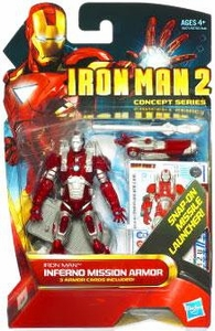 Iron Man 2 Concept 4 Inch Action Figure #13 Inferno Mission Iron Man [Snap On Missile Launcher!]