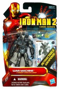Iron Man 2 Comic 4 Inch Action Figure #23 War Machine [Retractable Weapons!]