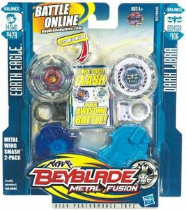 Beyblades Metal Fusion Balance & Attack Battle Top 2-Pack Metal Wing Smash [#BB47A Earth Eagle & #B106 Dark Libra]