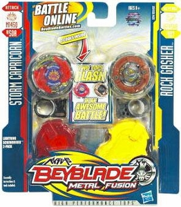 Beyblades Metal Fusion Balance & Attack Battle Top 2-Pack Lightning Screwdriver [#BB50A Storm Capricorn & #B107 Rock Gasher]
