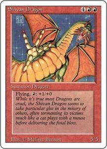 Magic the Gathering Revised Edition Single Card Rare Shivan Dragon Played Condition