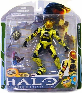 Halo 3 McFarlane Toys Series 5 [2009 Wave 2] Exclusive Action Figure PALE YELLOW Spartan Soldier EVA [Needler & Flare] COLLECTOR'S CHOICE!