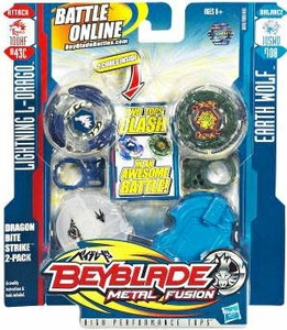 Beyblades Metal Fusion Balance & Attack Battle Top 2-Pack Dragon Bite Strike [#BB43C Lightning L-Drago & #B108 Earth Wolf]