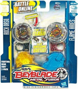 Beyblades Metal Fusion Balance & Attack Battle Top 2-Pack Fighting Bear Fury [#BB51A Rock Orso & #B109 Flame Aries]