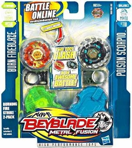 Beyblades Metal Fusion Stamina & Balance Battle Top 2-Pack Burning Firestrike [#BB59A Burn Fireblaze & #B110 Poison Scorpio]