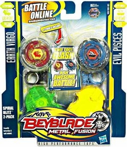 Beyblades Metal Fusion Stamina & Defense Battle Top 2-Pack Spiral Blitz [#BB60A Earth Virgo & #B111 Evil Pisces]