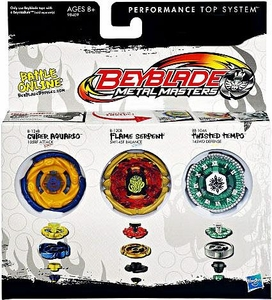 Beyblades Metal Masters Exclusive Battle Top 3-Pack Cyber Aquario, Flame Serpent & Twisted Tempo