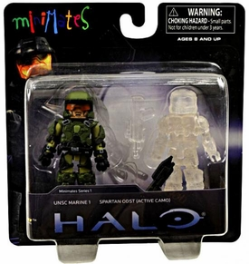 Halo Minimates Series 1 Exclusive Mini Figure 2-Pack UNSC Marine 1 & Spartan ODST [Active Camo]