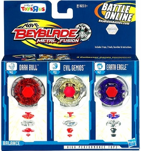 Beyblades Metal Fusion Exclusive Battle Top 3-Pack Earth Eagle, Evil Gemios & Dark Bull