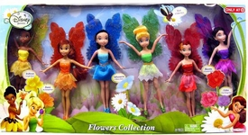 Disney Fairies Exclusive 9 Inch Doll 6-Pack Flowers Collection [Fawn, Vidia, Rosetta, Tinkerbell, Silvermist & Iridessa]