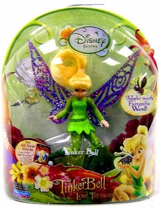 Disney Fairies Tinker Bell 3.5 Inch Mini Figure Tinker Bell {Cloth Leaf Dress} [Works with Flitterific Wand!]