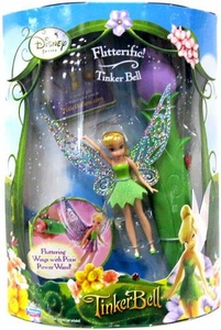 Disney Fairies Tinker Bell 3.5 Inch Mini Figure Flitterific! Tinker Bell with Fluttering Wings & Pixie Power Wand