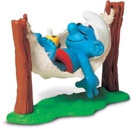 Schleich The Smurfs Mini Figure Smurf in Hammock