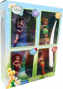 Disney Fairies Exclusive Fairies For All Seasons Action Figure Doll 4-Pack Winter Vidia, Spring Tink, Summer Rosetta & Fall Fawn