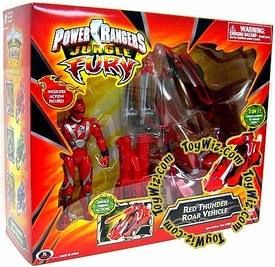 Power Rangers Jungle Fury Deluxe Toy Red Thunder Roar Vehicle with Action Figure