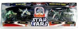 Star Wars Titanium Series EXCLUSIVE Diecast Mini 5-Pack with Raw Metal TIE Bomber, Blue ARC-170 & Green Swamp Speeder