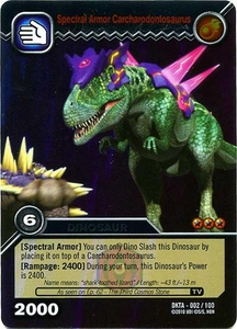 Dinosaur King Time Warp Adventures Single Card Silver Foil DKTA-002 Spectral Armor Carcharodontosaurus