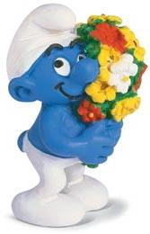 Schleich The Smurfs Mini Figure Smurf with Bouquet of Flowers