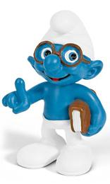Schleich The Smurfs Mini Figure Brainy Smurf with Book