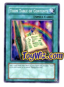 YuGiOh Tournament Pack 6 Single Card Super Rare TP6-EN002 Toon Table of Contents